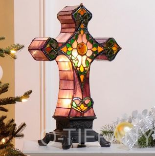 Tiffany Style Stained Glass Accent Lamp Antique Cross