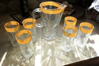 Beautiful Nanben Cut Glass Water Pitcher Glasses Beautiful