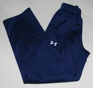 Under Armour Mens Fleece Sweatpants Navy Blue Elastic Waist, Pockets