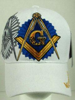 New White Mason Masonic Square and Compass Baseball Cap Hat
