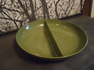 Vintage Retro Melmac Royalon Melamine Avacado Green Divided Bowl