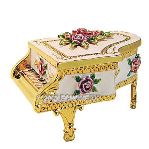 White Miniature Grand Piano Trinket Jewelry Box Victorian Rose