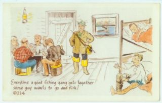 041010 Vintage Comic Fishermen Postcard Fishing Gang 1952