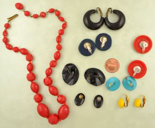 8PC Lot of Colorful Vintage Costume Earrings Necklace