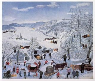 Grandma Moses Print Maple Syrup Camp Sugaring Off