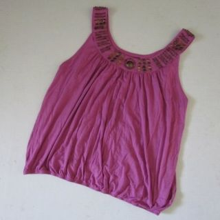 GRACE ELEMENTS New Bright Orchid Pink Beaded Tank Top Shirt Womens XXL