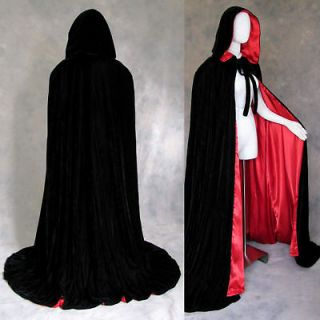 lined black red velvet cloak cape wedding wicca gothic need