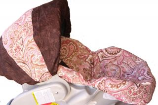 INFANT CAR SEAT COVER PINK PAISLEY PATTERN FOR GRACO, PEG PEREGO AND