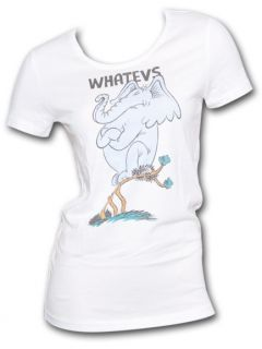 Seuss Horton The Elephant Whatevs Ladies White Retro Graphic Tee Shirt