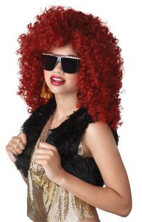Red Curly Hair Dancehall Diva Rihanna Costume Wig Burgundy