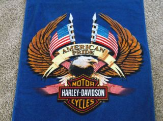 Large Harley Davidson Bath Towel Displayed American Pride 2002 Beach