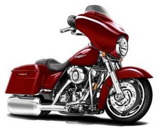 Harley Davidson Street Glide Cartoon Bike Graphic Decal Home Decor