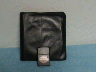 MATTE HARLEY DAVIDSON ZIPPO LIGHTER   LEATHER HARLEY DAVIDSON CD CASE