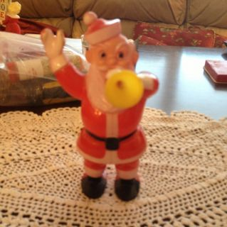Vtg E Rosen Hard Plastic Santa With Horn Candy Container Very Nice
