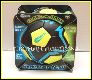 New Oglo Sports Glo Glow in The Dark Soccer Ball Green Glowing Colors
