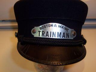 Vintage Boston Maine Railroad Trainman Cane Hat Cap