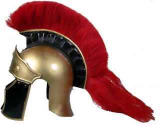 Greco Roman Armor Helmet with Red Plume Full Size Authentic Metal
