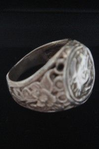 Solid Sterling Silver Alexander Greek Large Coin Ring