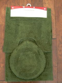 3pc Cotton Bath Bathroom Mat Rug Lid Cover Set Green
