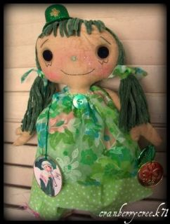 Raggedy Ann Doll St Patricks Day Green Gold Coin Retro OOAK