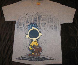 Mens T Shirt Charlie Brown Peanuts Aaugh Baseball Gray Schulz Size