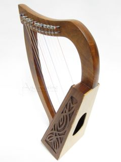 New 12 Strings Solid Rosewood Baby Harp Irish Celtic Style Knotwork
