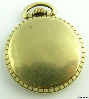 Harper 17J John Alden Railroad Theme Pocket Watch 10K Gold Plated Non