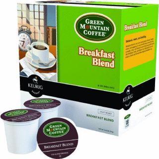 Keurig K Cup Green Mountain Breakfast Blend Coffee 18 Cups Case