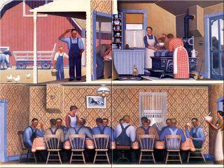 6x8 Grant Wood Ceramic Art Painting DINNER FOR THREASHERS 4pcs Craft