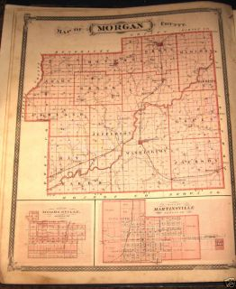 Morgan County Indiana Plat Map 1876 Harrison Hall