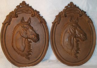 Pair of AWESOME LOOKING Large Size Vintage Cast Iron HORSE HEAD Wall