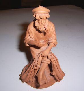 Italian Art Terra Cotta Clay Pottery Fisherman by Grasso