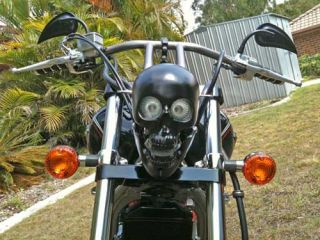 Harley Davidson Skull Headlight Black Matte Coated