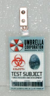 Resident Evil ID Badge Umbrella Corp Test Subject