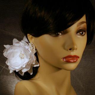 Bridal Hair Fascinator Clip Flower White Lotus Rhinestone Crystal