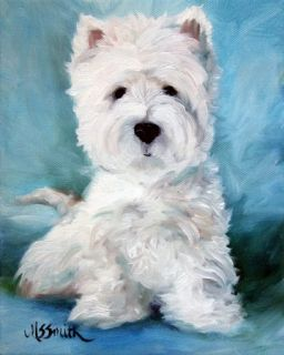 Mary Sparrow Westie West Highland Terrier Dog Art Oil Painting Print
