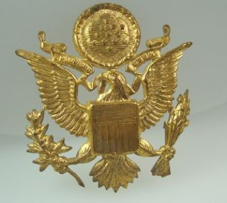 Vtg Gold World War II U S Army Officer Eagle Military Hat Badge Pin