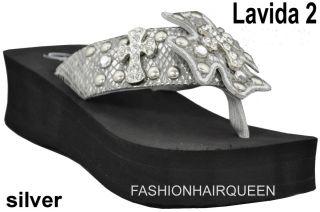 New Grazie Lavida 2 Silver Bling Cross Rhinestone Flip Flops