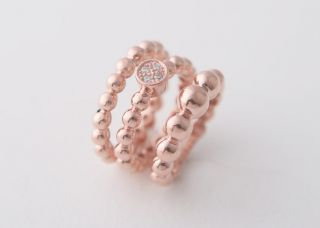 Perlee Bead Ring 925Sterling Silver Rose Gold Engagement Rings Set