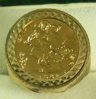 22ct Gold English Half Sovereign Coin in 9ct Gold Ring Mount