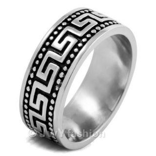12 Mens Silver Stainless Steel Greek Rings Wedding Band VE290