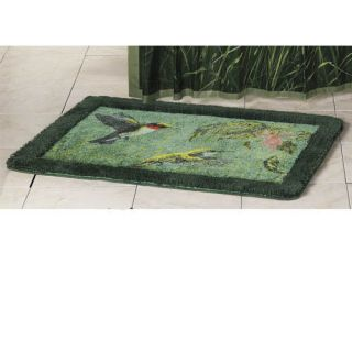 Bird Flower Floral Green Bath Rug Non Slip Mat Bathroom Decor