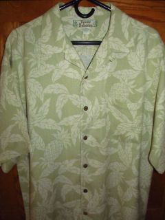 Tommy Bahama Mens s s 100 Silk Green Camp Shirt M Small Stain
