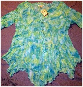 NWT Coldwater Creek Womens Green & Blue Handkerchief Shirt * Size XL
