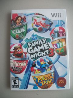 Hasbro Family Game Night 3 Game Complete Nintendo Wii