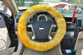 Genuine Goldy Long Wool Sheepskin Steering Wheel Cover Steel