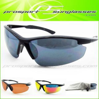 Golf Running HD Blue Orange Polycarbonate Wrap Sport Sunglasses