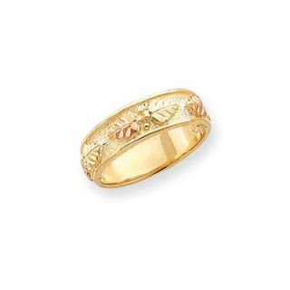 Jewelryweb 10k Tri color Black Hills Gold Mens Wed. Band Ring