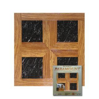 Home Dynamix Paramount 16 x 16 Vinyl Woodtone / Black Marble Tiles