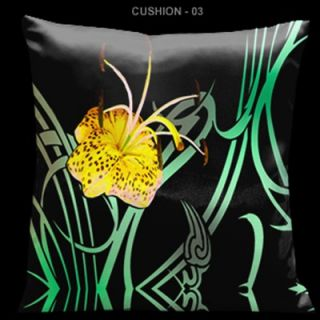Kasso Butterflies and Beauty Yellow and Green 18 Square Satin Pillow